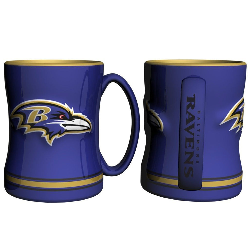 Boelter NFL Baltimore Ravens Sculpted Relief Mug Team Color 14oz