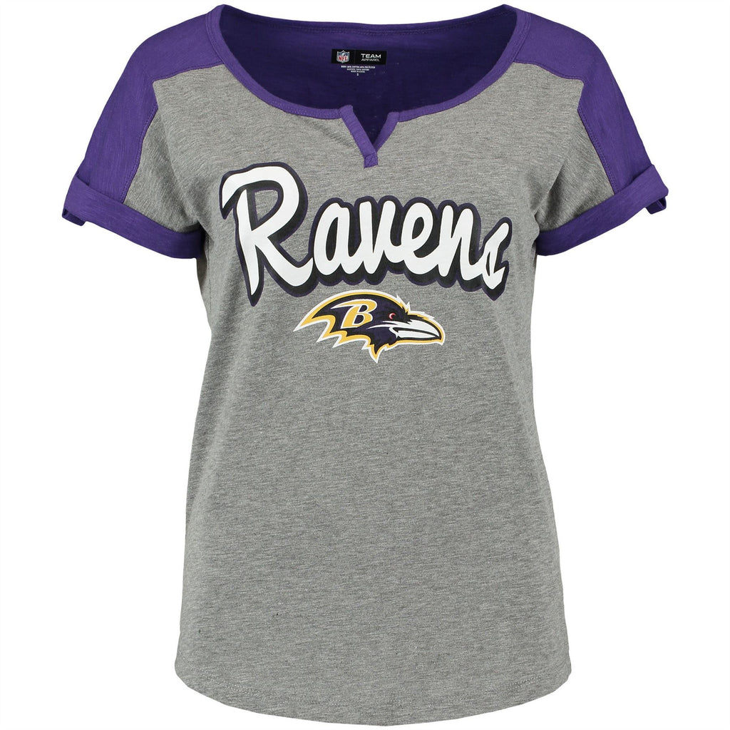 5th & Ocean NFL Women's Baltimore Ravens Slub V-Notch Scoop T-Shirt