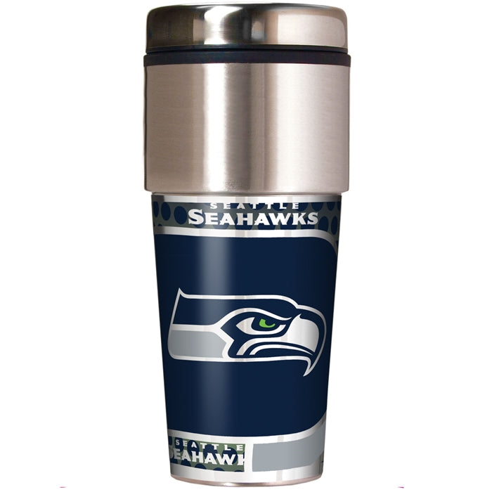 Great American Products NFL Seattle Seahawks Stainless Steel Travel Tumbler with Metallic Graphics 16 oz