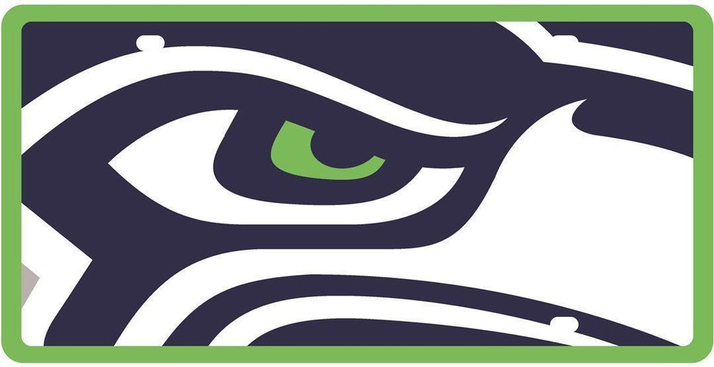 Stockdale NFL Seattle Seahawks Mega Logo Deluxe Laser Cut  Auto License Plate Tag