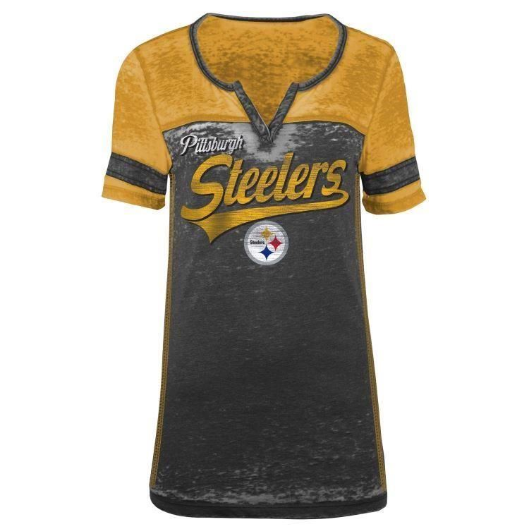 5th & Ocean NFL Women's Pittsburgh Steelers Burnout V-Neck T-Shirt