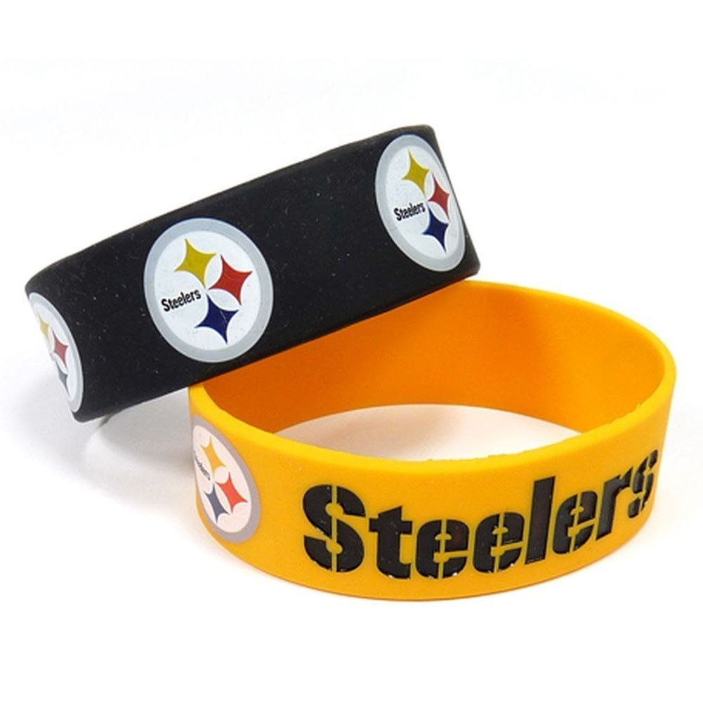 Aminco NFL Pittsburgh Steelers 2 Pack Wide Silicone Bracelets