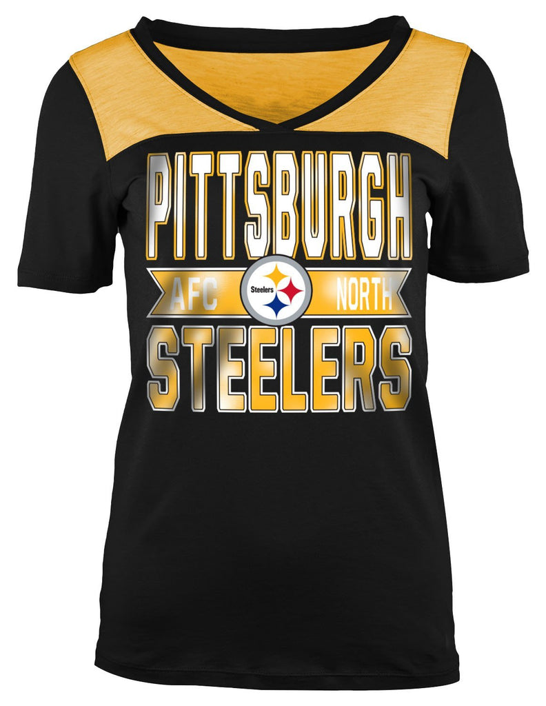5th & Ocean NFL Women's Pittsburgh Steelers Athletic Foil V-Neck