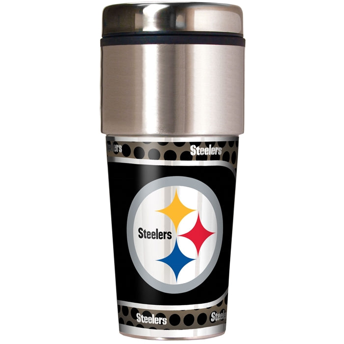 Great American Products NFL Pittsburgh Steelers Stainless Steel Travel Tumbler with Metallic Graphics 16 oz