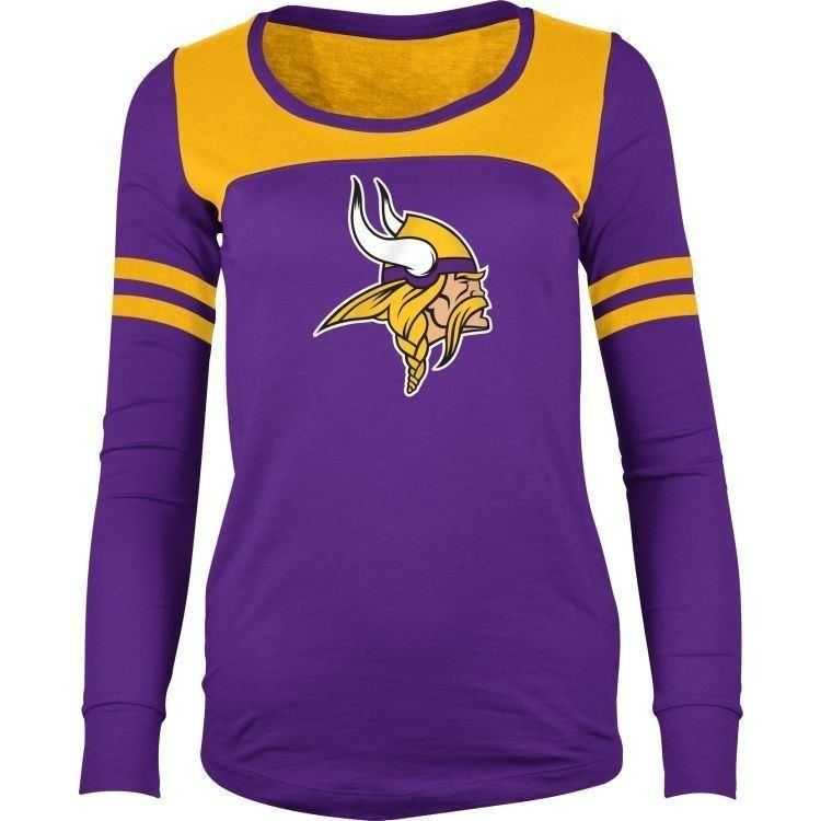 5th & Ocean NFL Women's Minnesota Vikings Hang Time Glitter Long Sleeve T-Shirt