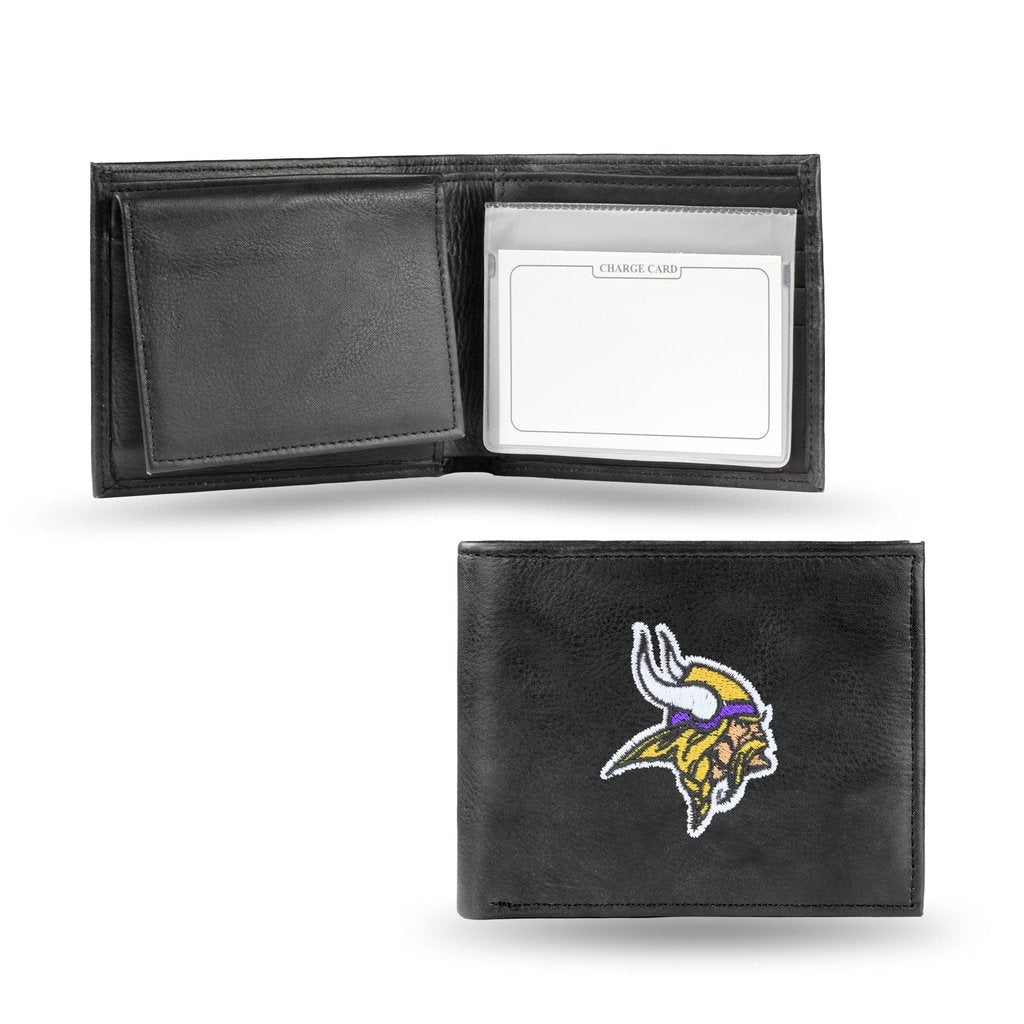 Rico NFL Minnesota Vikings Embroidered Billfold Genuine Leather Wallet