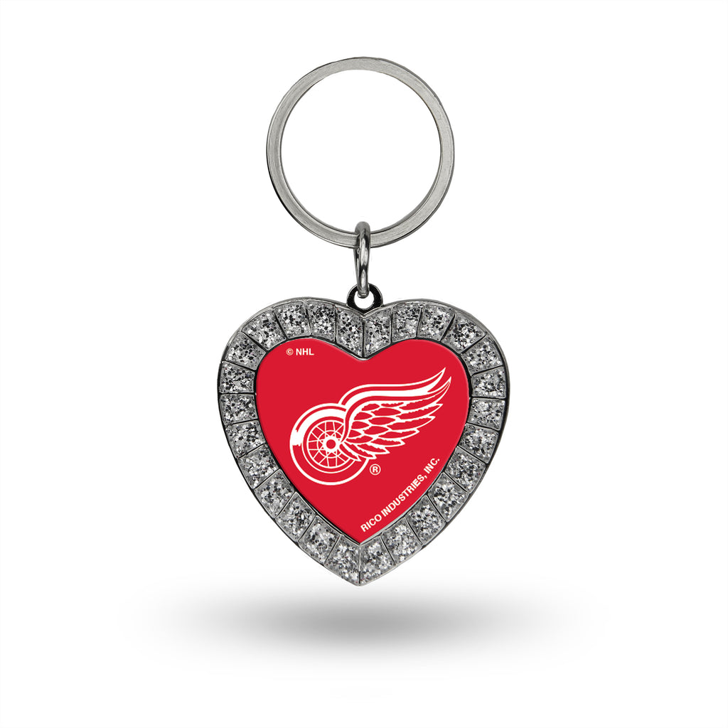 Rico NHL Detroit Red Wings Rhinestone Heart Key Chain