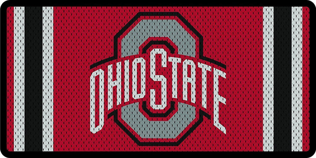 Stockdale NCAA Ohio State Buckeyes Mesh Jersey Deluxe Laser Cut Auto License Plate Tag