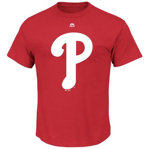 Majestic MLB Men's Philadelphia Phillies Official Logo T-Shirt