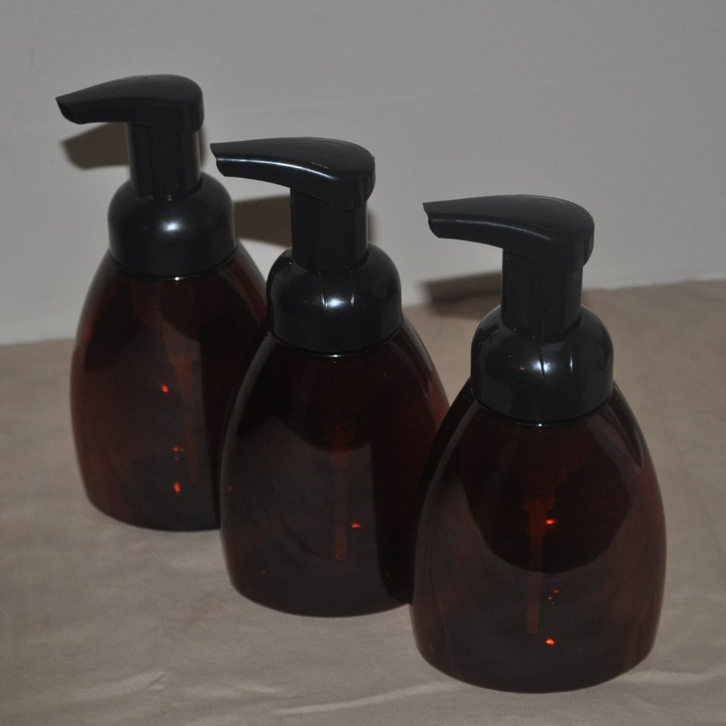 8.5 oz Amber Table Top Bottle with Black Foamer Pump Top