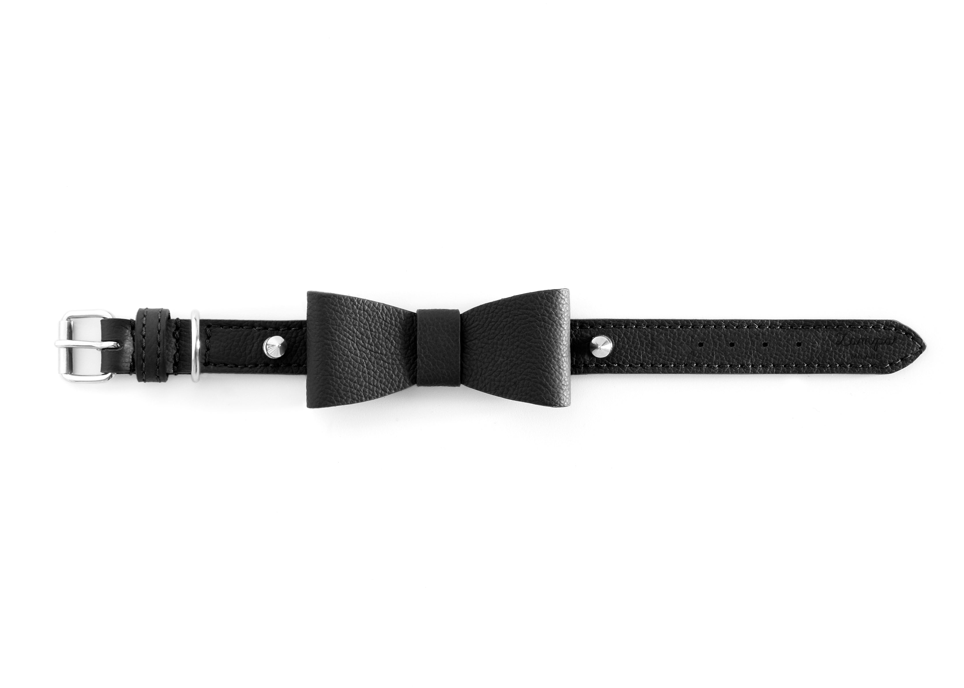 Zampa Milano | Black Leather Fiocco Collar
