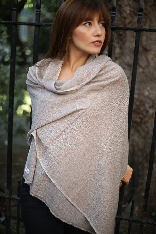 PATTERN BROWN OVERSIZED SCARF