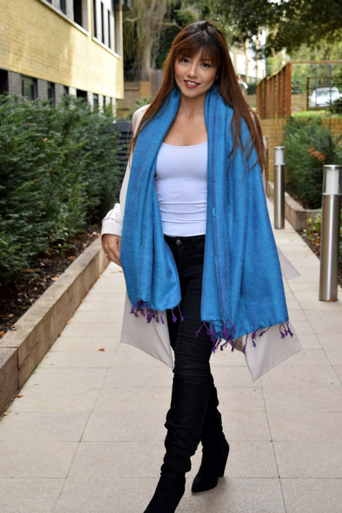PURPLE TASSELED BLUE OVERSIZED SCARF