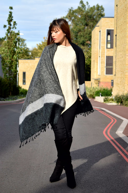 BLACK AND GREY STRIPED OVERSIZED SCARF