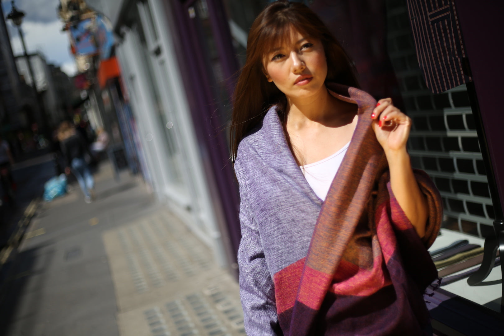 PURPLE DYED OVERSIZED SCARF