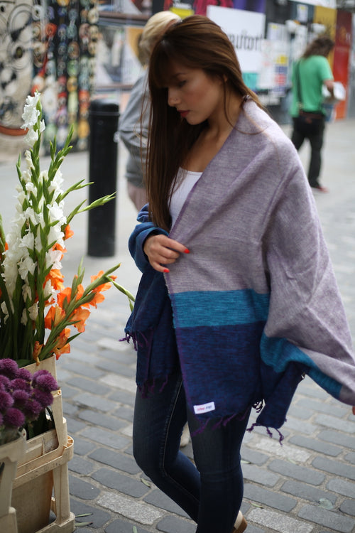 PURPLE HAZE STRIPED OVERSIZED SCARF