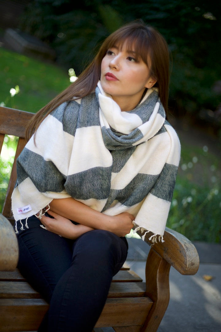 NIGHT MIST AND WHITE STRIPED OVERSIZED SCARF