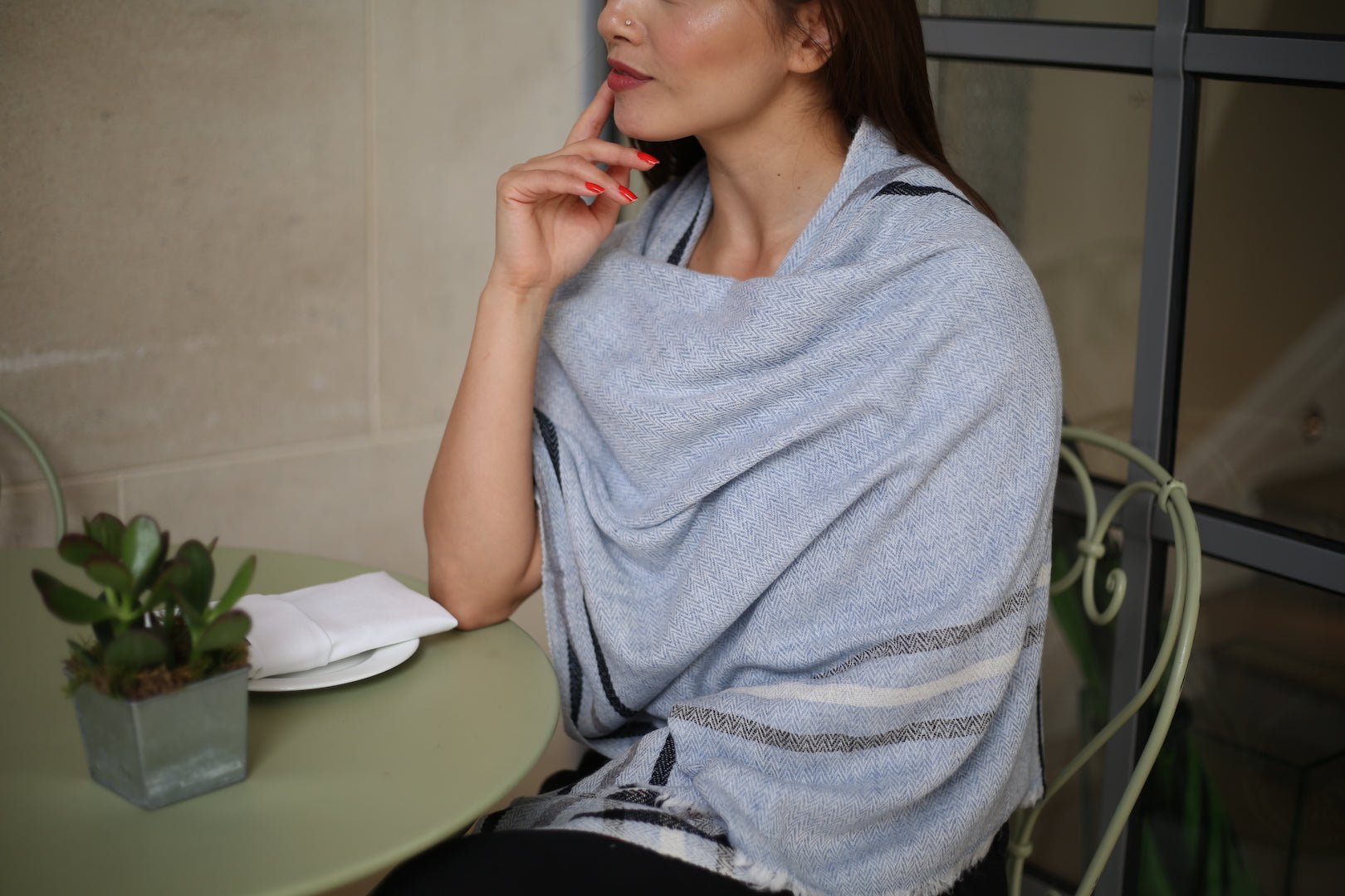 light blue STRIPED OVERSIZED SCARF