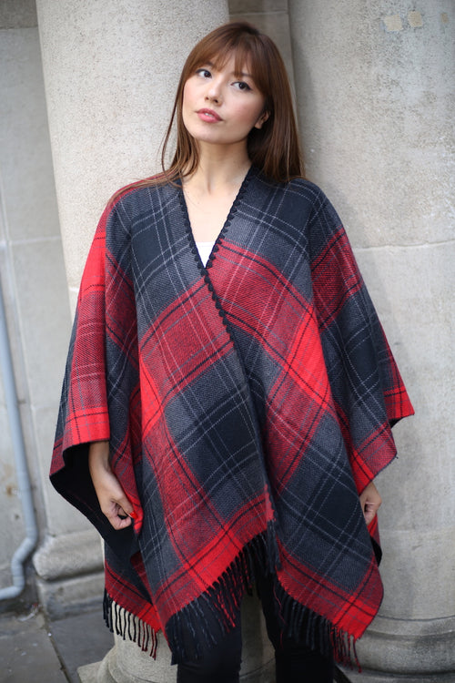 PRE-ORDER | RED AND BLACK PONCHO