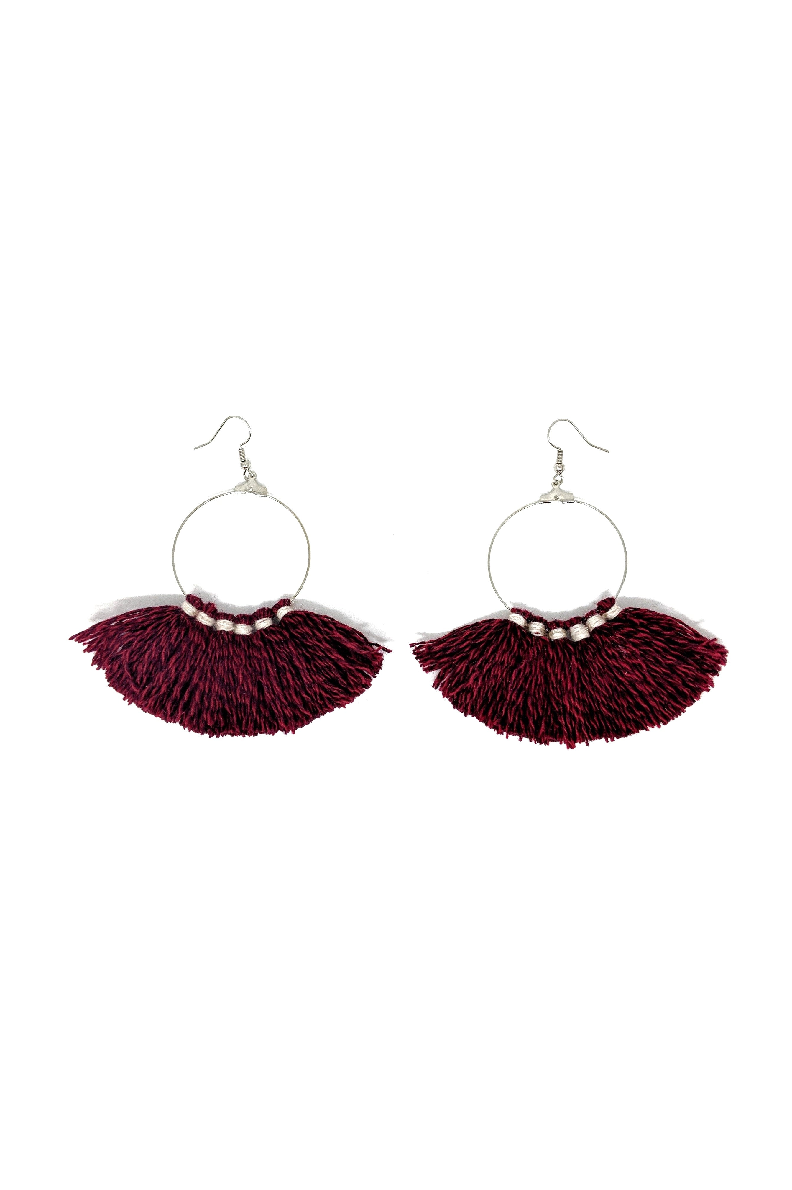 CASHMERE TASSEL HOOP EARRINGS