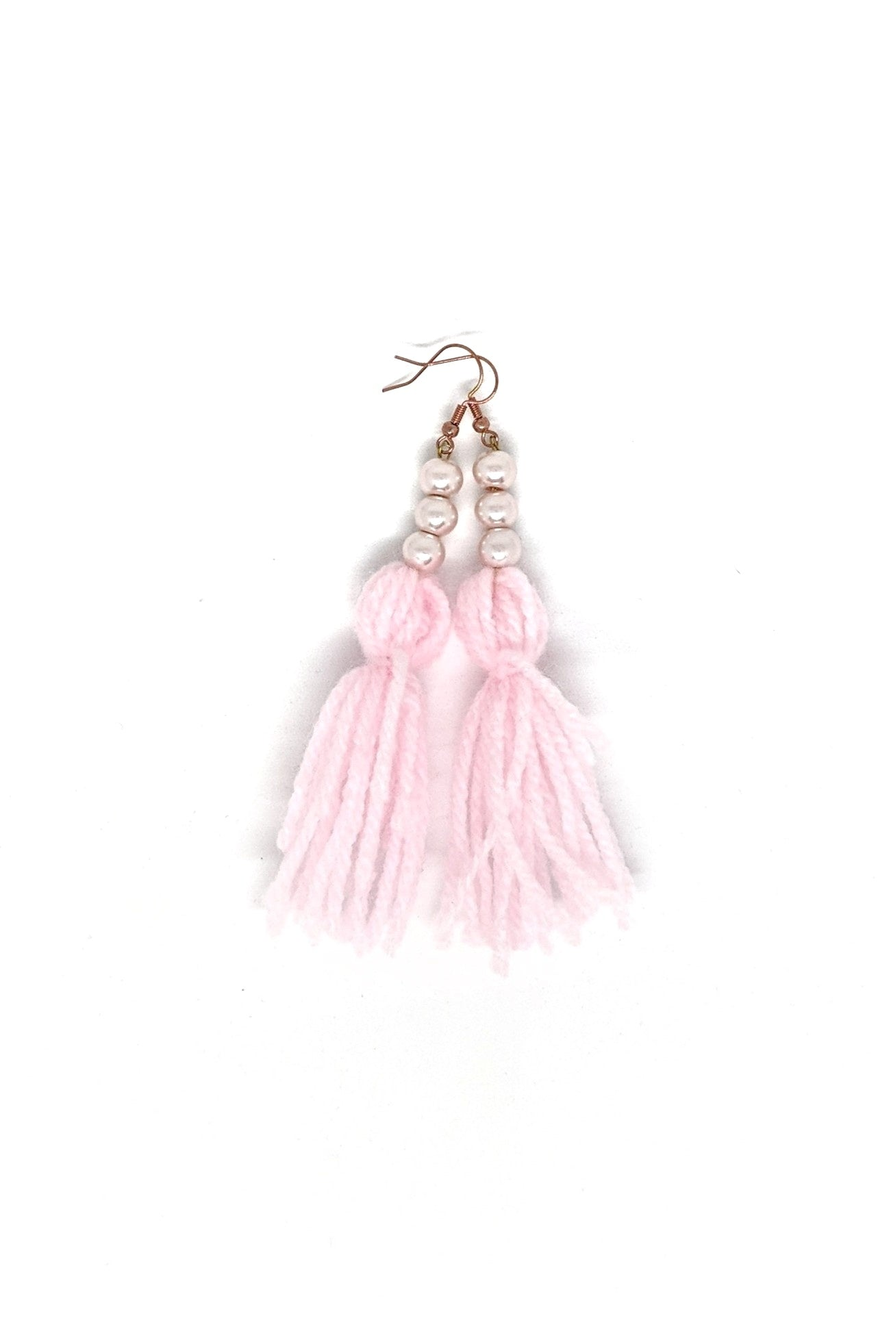 PINK YARN TASSLE EARRINGS