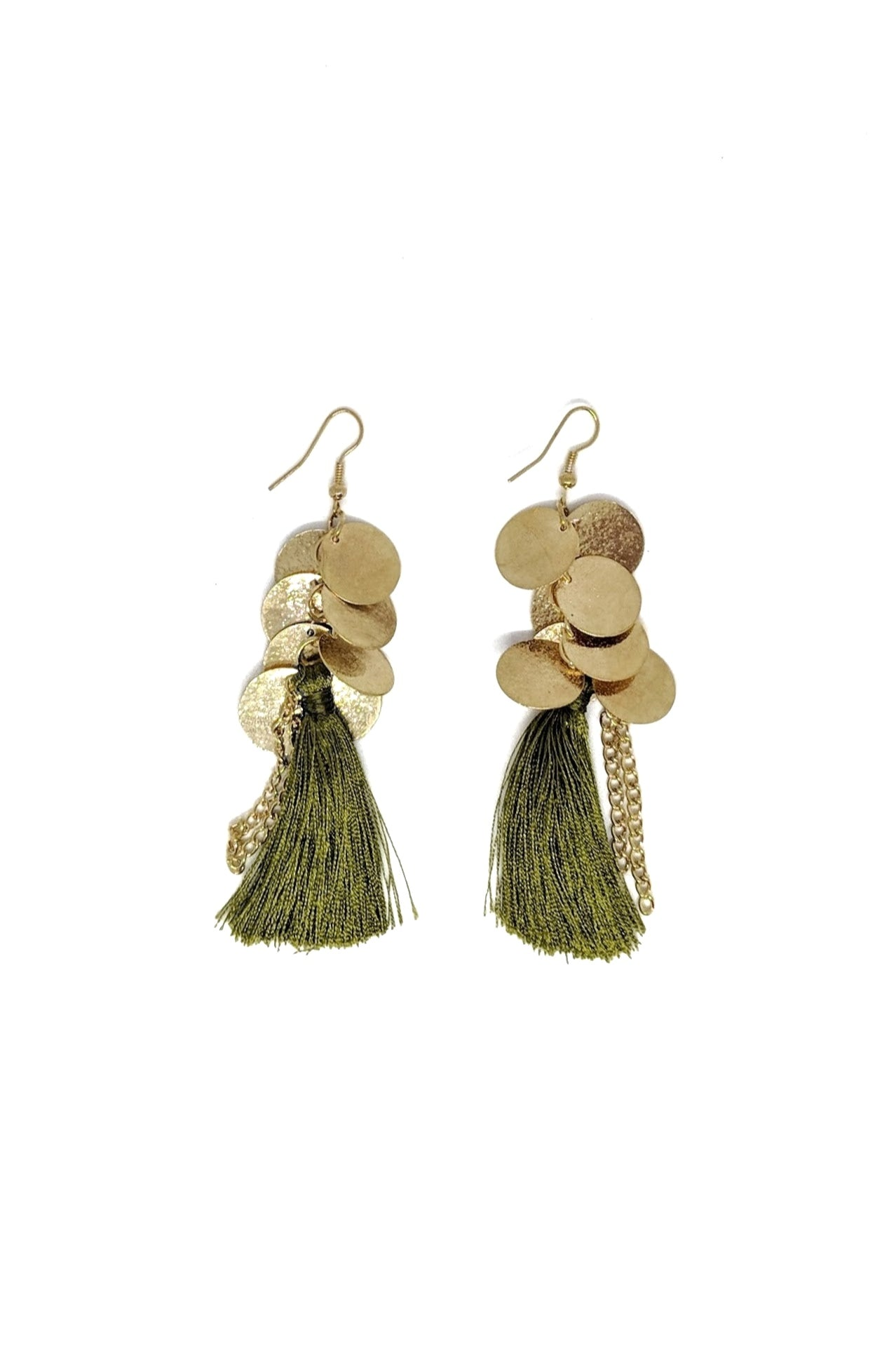 GOLD DISCS TASSLE EARRINGS