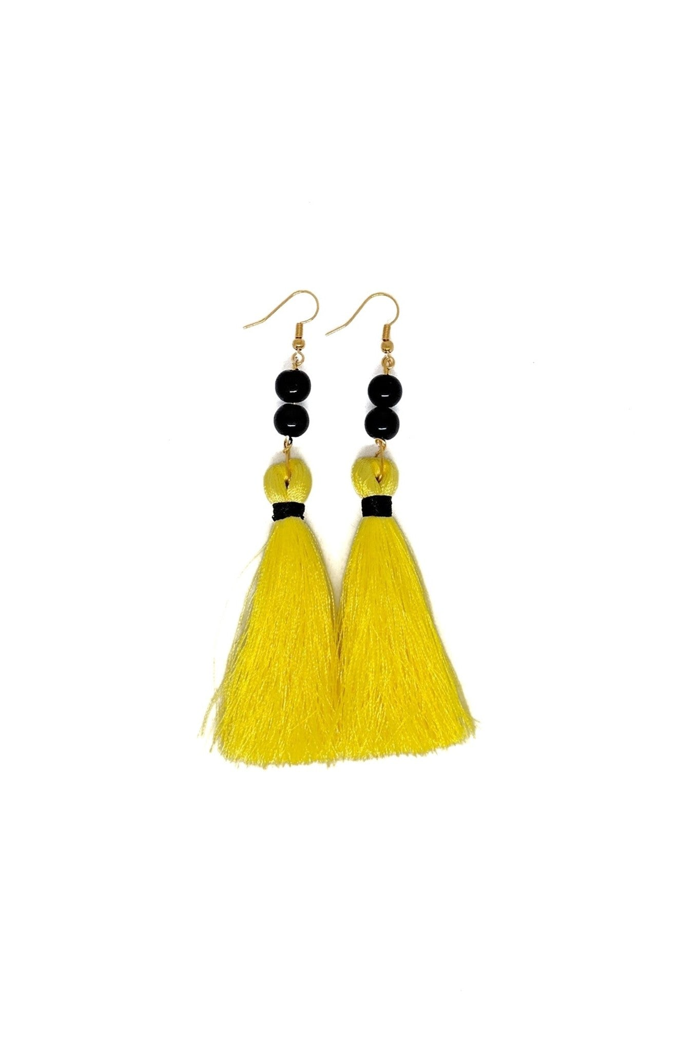 NEON YELLOW WITH BLACK BEADS TASSLE EARRINGS