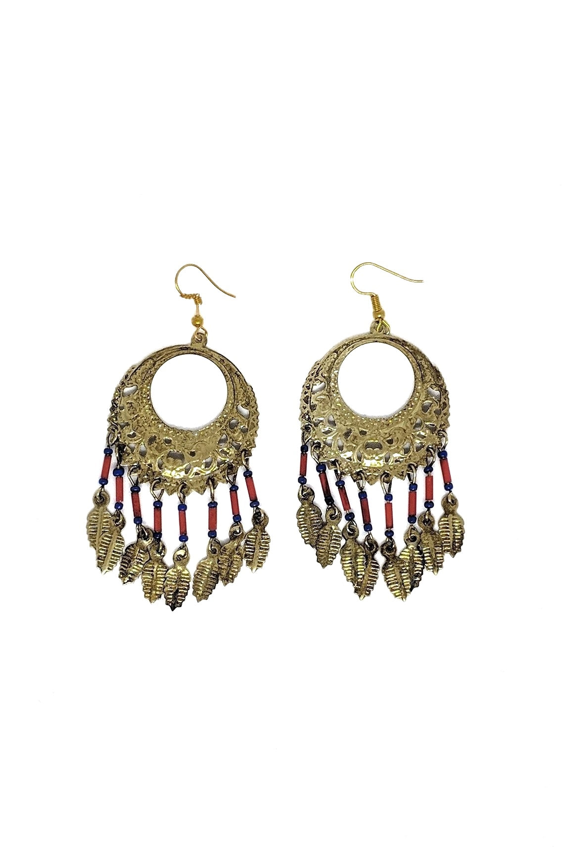 YELLOW-GOLD METAL EARRINGS WITH RED & BLUE BEADS