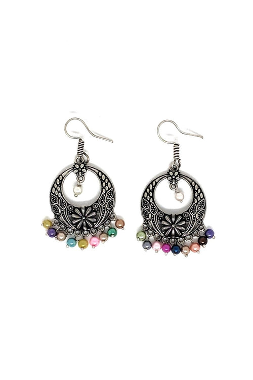 SILVER-METAL EARRINGS WITH MULTI-COLOURED BEADS