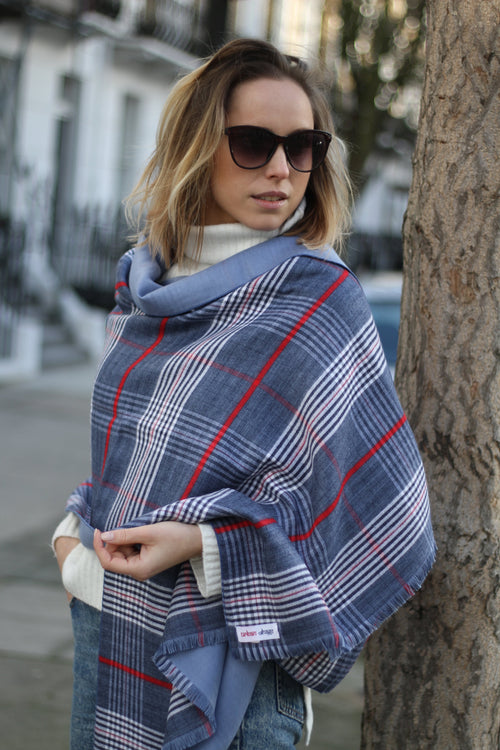 TARTAN PATTERNED WOOL SCARF