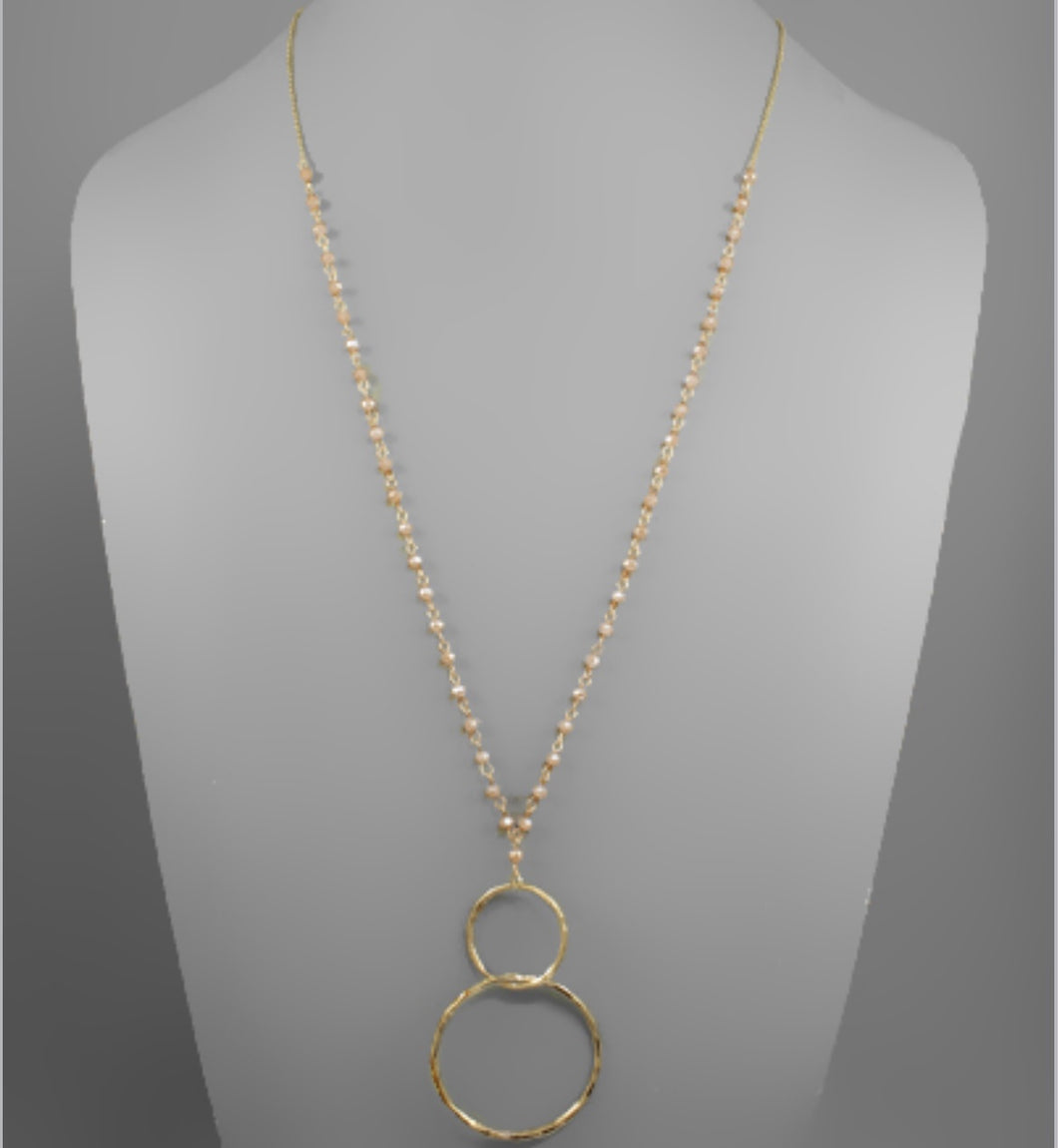 Linked Circle & Glass Bead Necklace