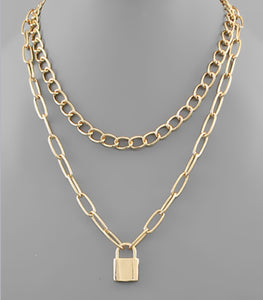 Lock Pendant Layered Chain Necklace