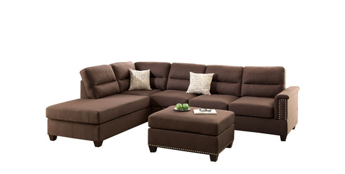 Bobkona Toffy Polyfabric Left or Right Hand Chaise Sectional with Ottoman Set, Multiple Colors