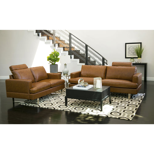 Abbyson Edison Camel Top Grain Leather 2-piece Seating Set