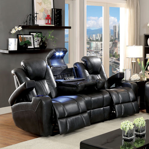 Serafin Power-Assisted Dark Grey  Leatherette Reclining Sofa