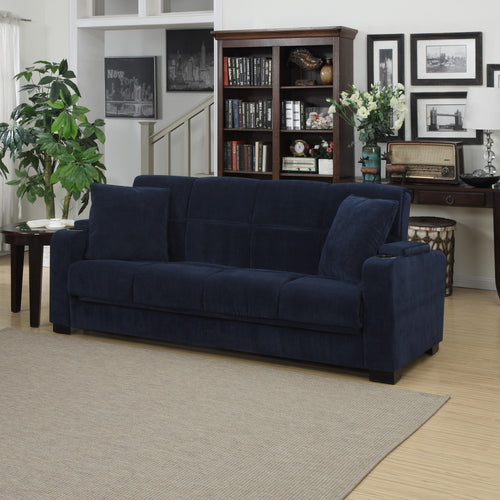 Handy Living Tevin Navy Blue Velvet Convert-a-Couch Storage Arm Sofa