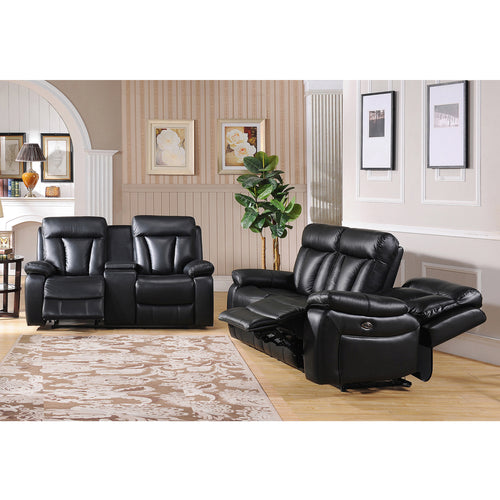 Vedder Black Top Grain Leather Power Motorized Lay-flat Reclining Sofa, and Loveseat