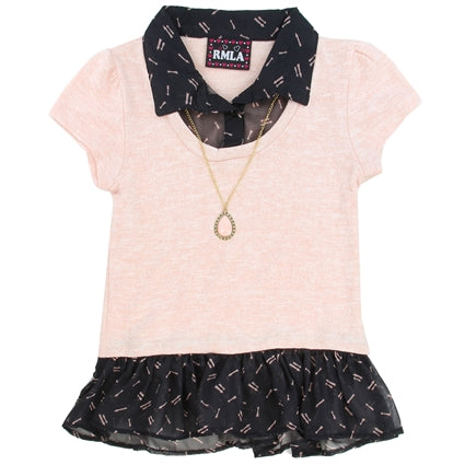 FASHION PREPPY TOP WITH NECKLACE