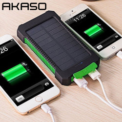 AKASO Waterproof Solar Power Bank 10000mah Dual USB Li-Polymer Travel Powerbank With a compass