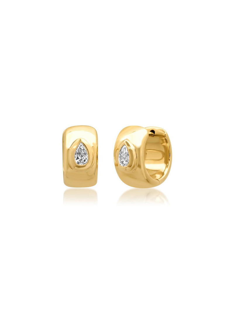 14K Yellow Gold Pear Diamond Gypsy Huggies