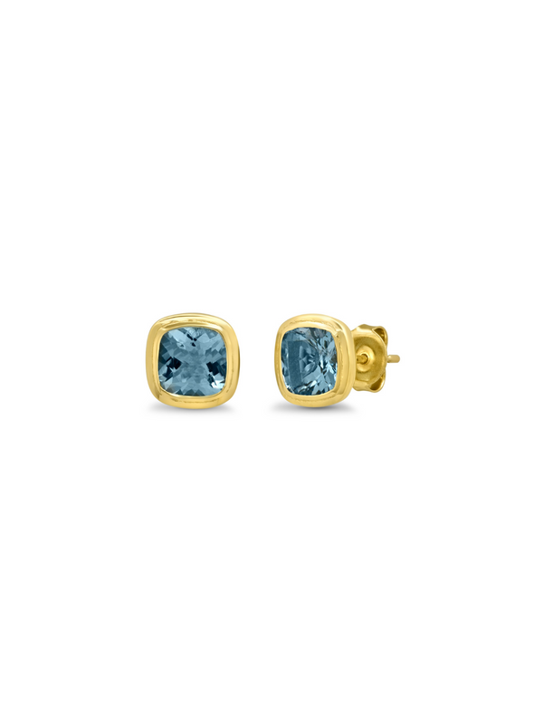14K Yellow Gold Aquamarine Gypsy Studs