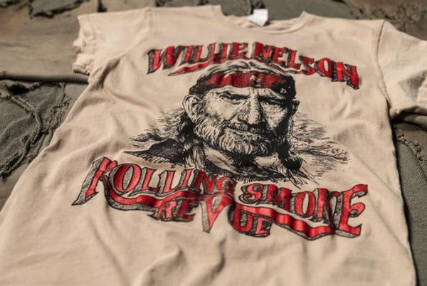 Willie Nelson Rolling Smoke Review Crew Tee-MadeWorn-Tucci Boutique