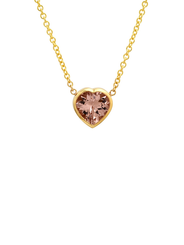 14K Yellow Gold Morganite Heart Gypsy Necklace