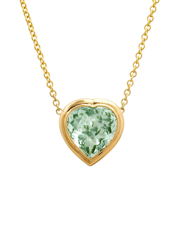 14K Yellow Gold Tourmaline Heart Gypsy Necklace