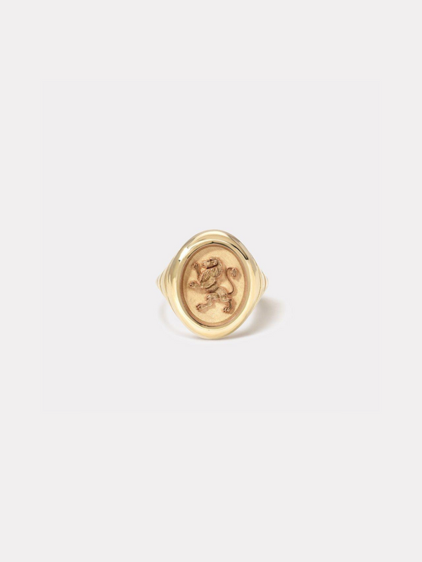 Grandfather Fantasy Motif Signet Ring - Lion-Retrouvai-Tucci Boutique
