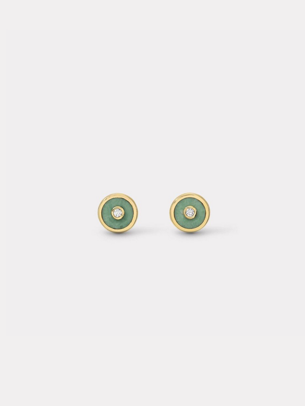 Mini Compass Stud Earrings - Green Turquoise-Retrouvai-Tucci Boutique