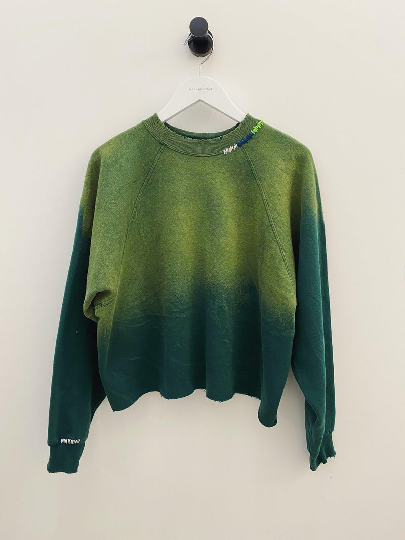Ombre Stitched Vintage Cut Off Sweatshirt