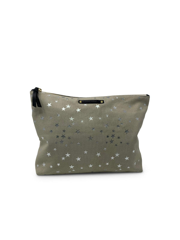 Taupe Silver Star Large Canvas Pouch