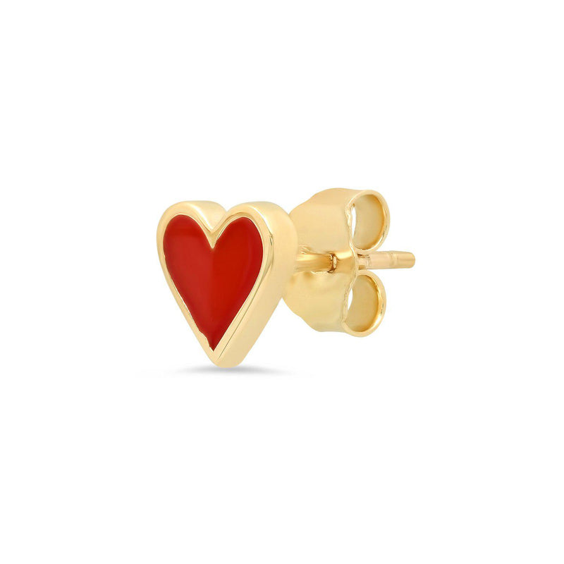 Enamel Heart Stud Earrings-Established-Tucci Boutique