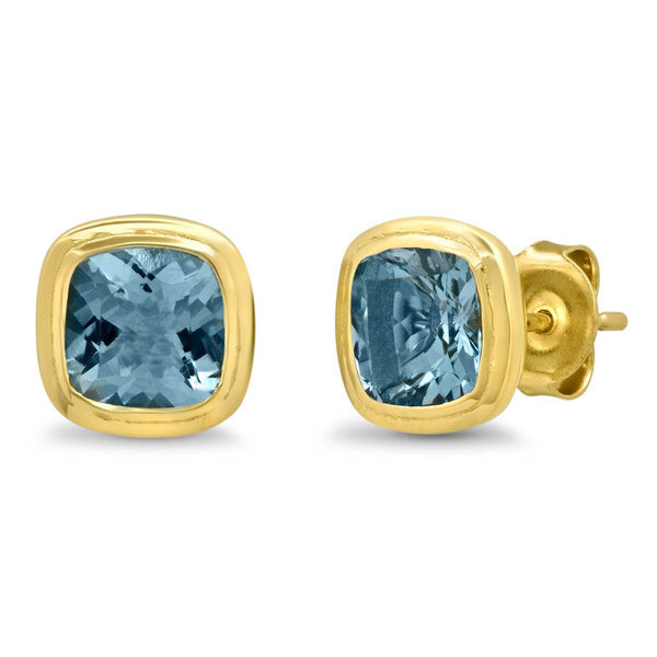 14K Yellow Gold Aquamarine Gypsy Studs-Sig Ward-Tucci Boutique